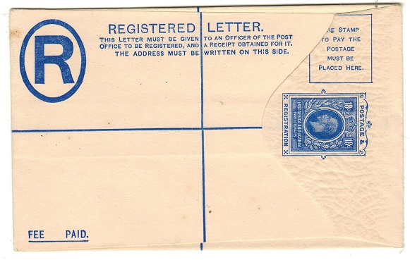 K.U.T. - 1915 18c blue on cream RPSE stationery envelope (size F) unused. H&G 3.