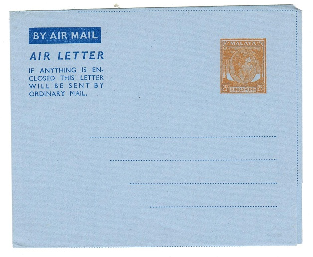 SINGAPORE - 1951 25c postal stationery airletter unused.  H&G 1.