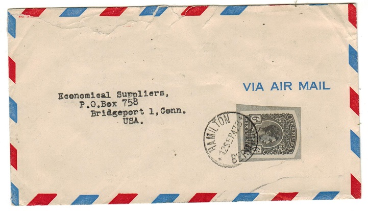 BERMUDA - 1947 use of 6d grey postal stationery