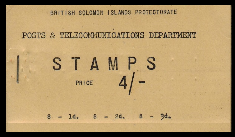 SOLOMON ISLANDS - 1959 4/- black on buff BOOKLET. SG SB1.