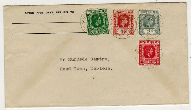 BRITISH VIRGIN ISLANDS - 1944 local multi franked cover used at WEST END.
