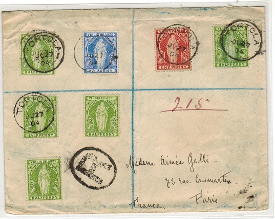 BRITISH VIRGIN ISLANDS - 1904 registered cover to France used at TORTOLA.