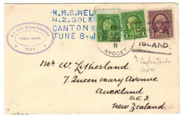 GILBERT AND ELLICE ISLANDS - 1937 H.M.S.WELLINGTON/NZ SOLAR ECLIPSE cover.