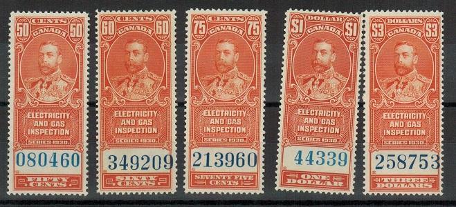 CANADA - 1930 (circa) ELECTRICITY & GAS adhesives in unmounted mint condition.