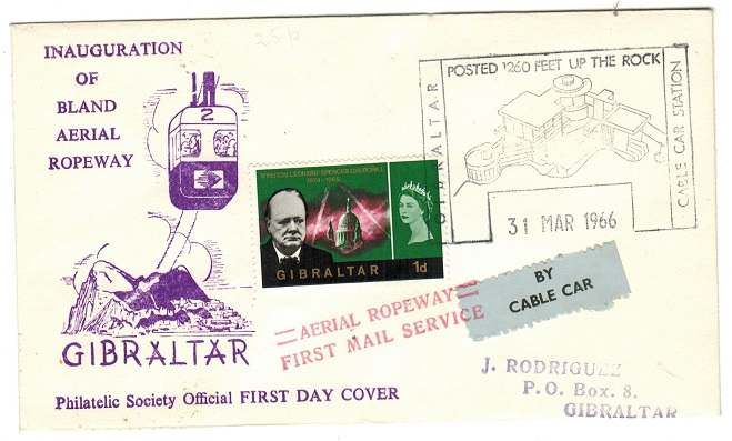 GIBRALTAR - 1966 1d local rate BY CABLE CAR cover.
