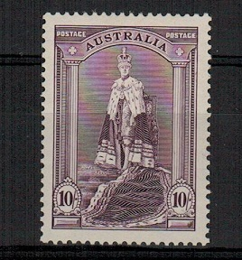AUSTRALIA - 1948 10/- dull purple lightly mounted mint.  SG 177a.