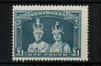 AUSTRALIA - 1948 £1 bluish slate in fine lightly mounted mint condition.  SG 178a.