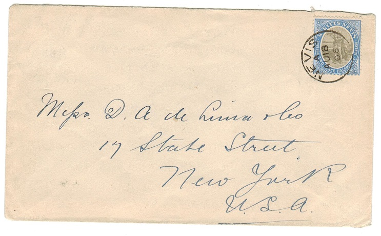 ST.KITTS (Nevis) - 1906 2 1/2d rate cover to USA used at NEVIS.