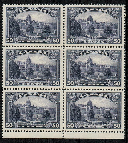 CANADA - 1935 50c deep violet U/M block of six.