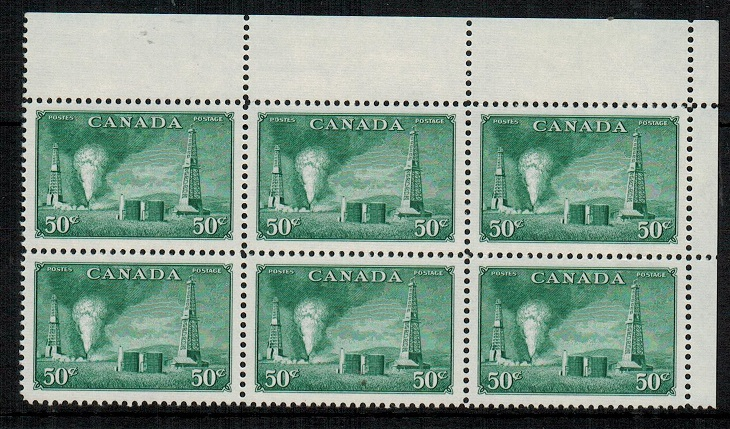 CANADA - 1950 50c green U/M block of six.  SG 431.