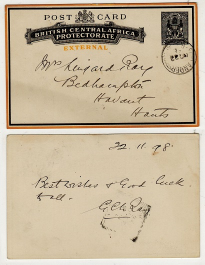 NYASALAND - 1895 2d black and yellow PSC to UK used at FORT ANDERSON.  H&G 5.