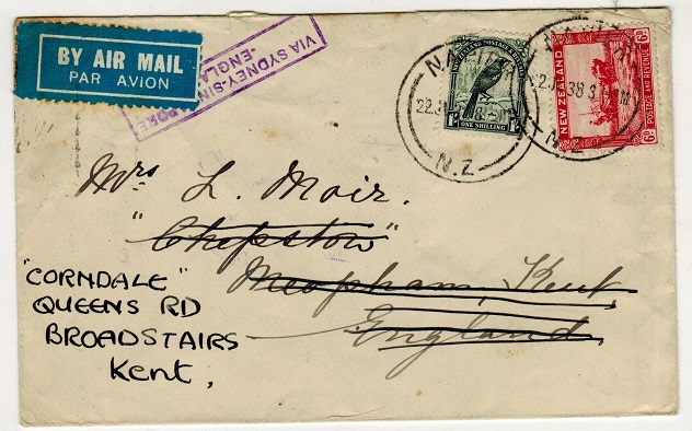 NEW ZEALAND - 1938 1/6d rate cover to UK struck by