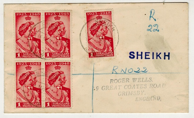 SOMALILAND - 1949 5a rate registered cover to UK used at SHEIKH.