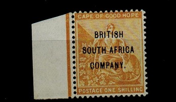 RHODESIA - 1896 1/- yellow ochre very fine mint.  SG 64.