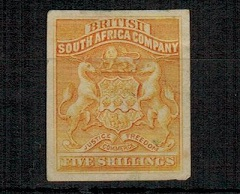 RHODESIA - 1892 5/- IMPERFORATE PLATE PROOF in orange-yellow on ungummed card.
