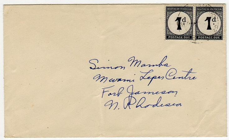 NORTHERN RHODESIA - 1950 (circa) stampless local cover with 1d