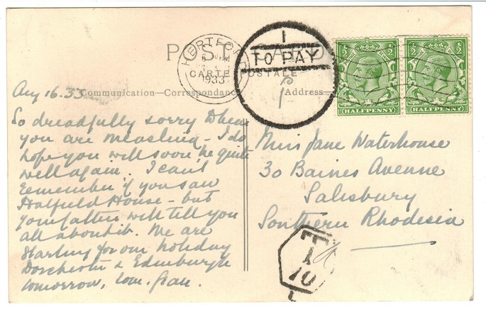 SOUTHERN RHODESIA - 1933 inward underpaid postcard from UK with