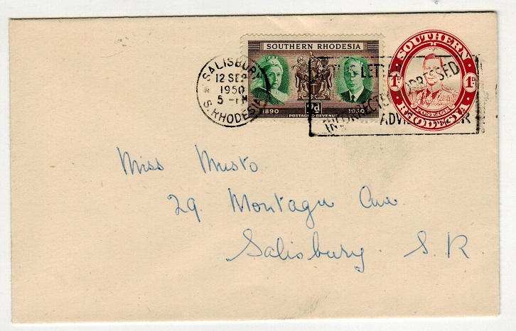 SOUTHERN RHODESIA - 1937 1d PSE uprated locally with SALISBURY/IF THIS LETTER slogan strike.
