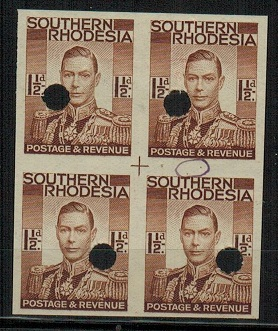 SOUTHERN RHODESIA - 1937 1 1/2d red-brown IMPERFORATE PLATE PROOF block of four.
