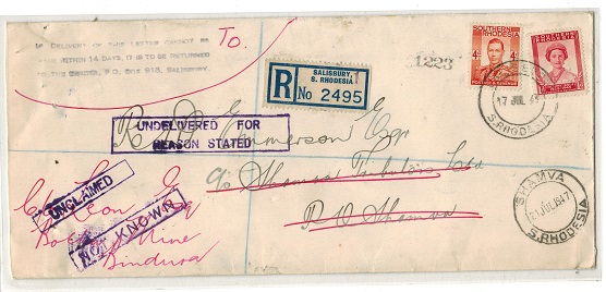SOUTHERN RHODESIA - 1947 local registered cover with SHAMVA arrival and UNKNOWN and UNCLAIMED h/s