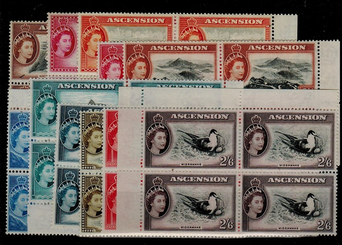ASCENSION - 1956 short definitive set to 2/6d in U/M blocks of four. SG 57-67.