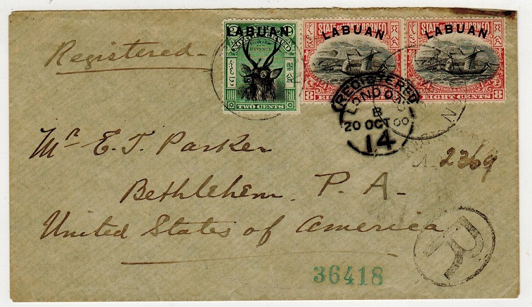 LABUAN - 1900 18c rate registered cover to USA usedat LABUAN.