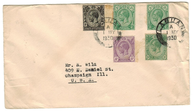 LABUAN - 1930 12c rate cover to USA using