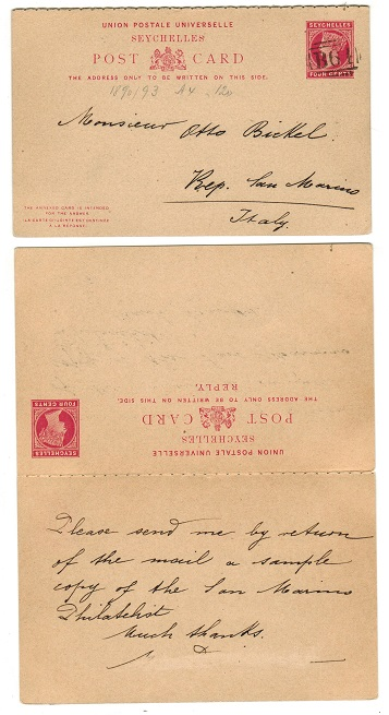 SEYCHELLES - 1890 4c+4c carmine PSRC to Italy cancelled
