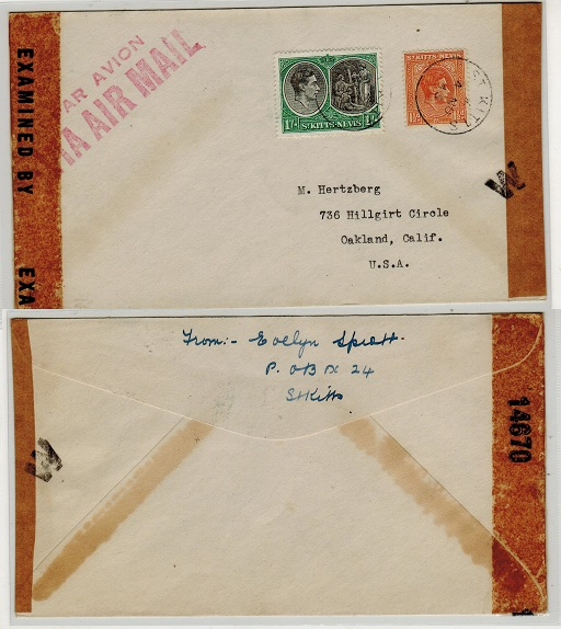 ST.KITTS - 1943 1/- + 1 1/2d rate censor cover to USA with rare