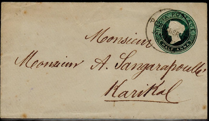 INDIA (Pondicherry) - 1883 1/2a green PSE of India used at PONDICHERRY.  H&G 4.