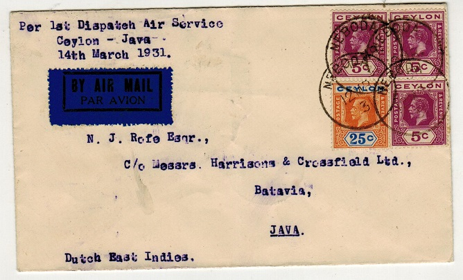 CEYLON - 1931 first flight cover from Neboda to Java. Only 14 covers flown.