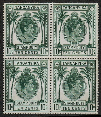 TANGANYIKA - 1938 10c green STAMP DUTY in a fine mint block of four.