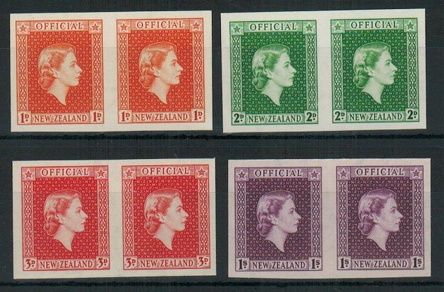 NEW ZEALAND - 1954 1d,2d,3d and 1/- OFFICIAL adhesives in IMPERFORATE PLATE pairs.