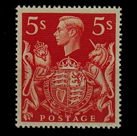 GREAT BRITAIN - 1939 5/- red in fine unmounted mint condition.  SG 477.