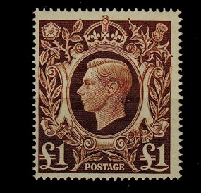 GREAT BRITAIN - 1948 £1 brown in fine unmounted mint condition.  SG 478c.