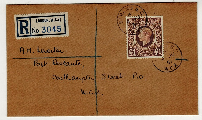 GREAT BRITAIN - 1951 registered cover bearing £1 brown (SG 478c) tied STRAND B.O.