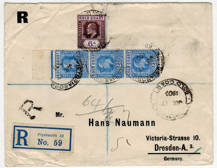 GOLD COAST - 1907 registered cover to Germany used at VICTORIABORG.