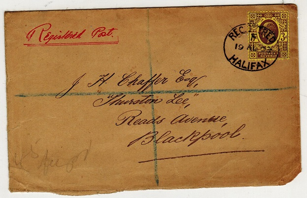 GREAT BRITAIN - 1903 3d rate registered used at HALIFAX.