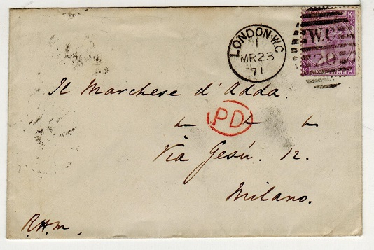 GREAT BRITAIN - 1871 6d rate cover to Italy.