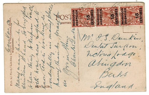 MOROCCO AGENCIES - 1924 postcard to UK used at CASABLANCA.