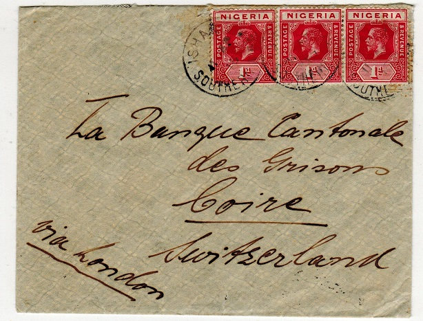 NIGERIA - 1915 3d rate cover to Switzerland used at ISHAN/SOUTHERN NIGERIA.