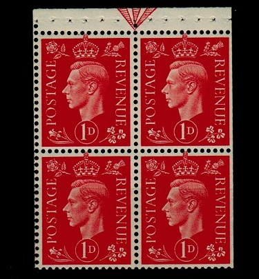 GREAT BRITAIN - 1937 1d scarlet BOOK PANE of four mint.  SG 463ab.