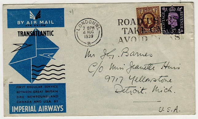 GREAT BRITAIN - 1939 1/3d rate Imperial Airways transatlantic first flight cover to USA.