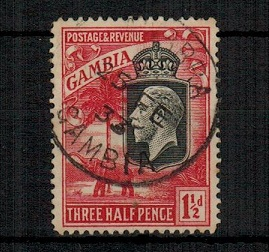 GAMBIA - 1922 1 1/2d bright rose scarlet cancelled JAWARRA/GAMBIA. Very scarce.  SG 125.