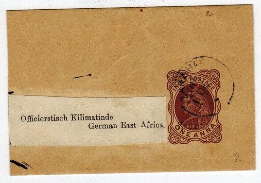 ZANZIBAR - 1895 1a Postal stationery wrapper to German East Africa.  H&G 2.