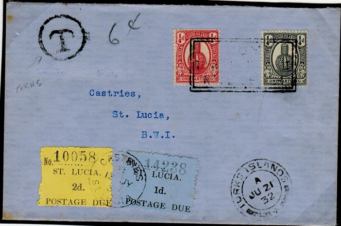 TURKS AND CAICOS - 1932 underpaid cover to St.Lucia with 1d+2d