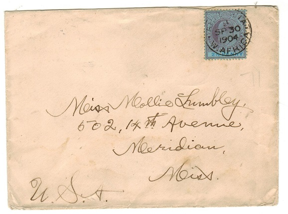 LAGOS - 1904 2 1/2d rate cover to USA used at ABEOKUTA.
