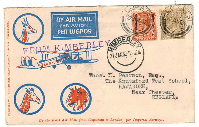 BECHUANALAND - 1932 first flight cover to UK