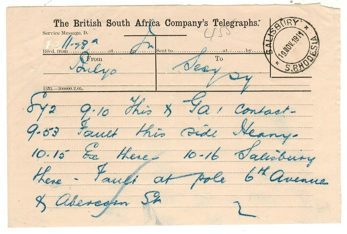 RHODESIA - 1911 TELEGRAM form used at SALISBURY.
