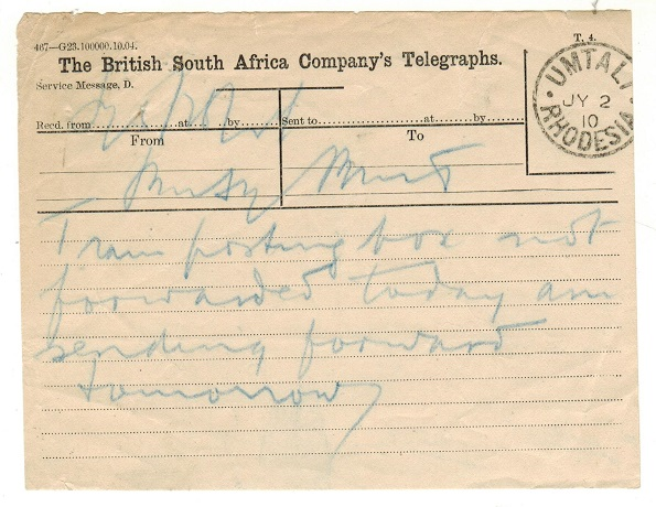 RHODESIA - 1910 TELEGRAM form used at UMTALI.